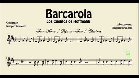 Barcarolle from The Tales of Hoffman Sheet Music for Tenor