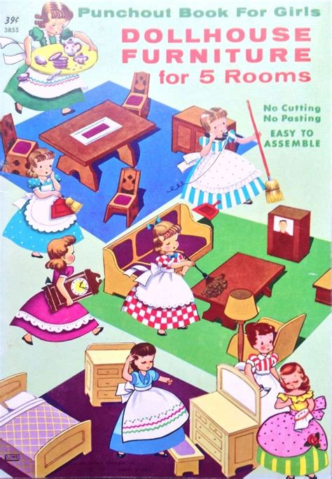 Original Doll House Furniture Paper Doll Punch Out Book