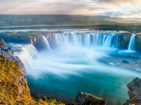 Godafoss Waterfall Icelandic Nice Water From The River