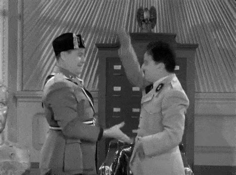 Charlie Chaplin meets Mussolini as Hilter ANIMATED GIF