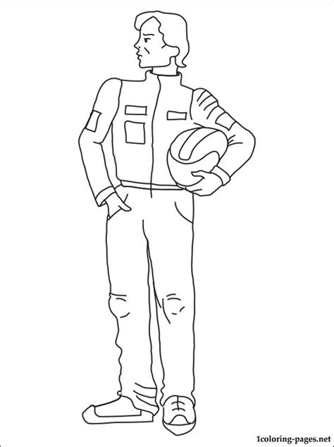 Racing driver coloring page | Coloring pages