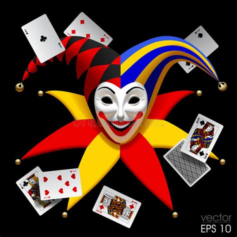 Joker Head With Playing Cards Isolated On Black Stock
