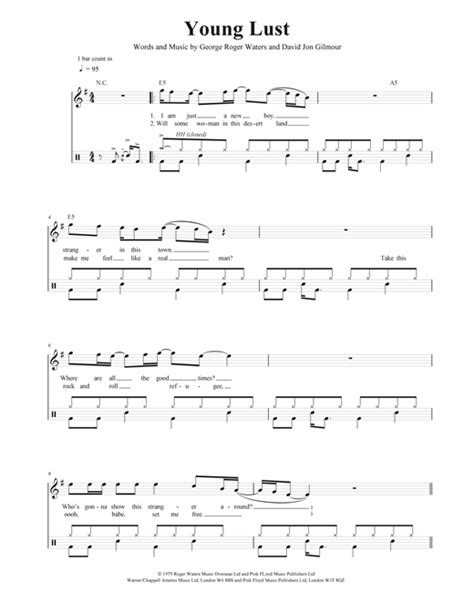 Young Lust drum tab by by Pink Floyd (Drums – 40549)