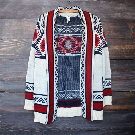 Mod lightweight tribal cardigan aztec in rust (With images